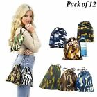 Adorox Pack of 12 Camouflage BAGS Polyester Drawstring Bags Loot Sack Party Favo