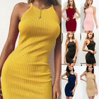 UK Womens Summer Ribbed Bodycon Mini Dresses Ladies Strappy Clubwear Party Dress