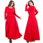 Red Womens Long Sleeve Party Dress Ladies Long Maxi Christmas Dress Puls Size