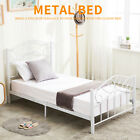 Black/White Twin Size Metal Bed Frame Heavy Duty Steel Headboard Footboard