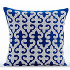 "Arabic Pattern Applique 16""X16"" Art Silk Blue Throw Pillows Cover - Blue Royale"