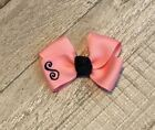 Pink and Navy Blue Monogram Infant Hair Bow