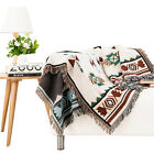 Woven Cotton Tribal Ethnic Geometric Blanket Throw Rugs Sofa Tapestry Jacquard image