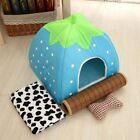 Warm Strawberry House Pet Dog Cat Puppy Kennel Bed Soft Cushion Basket Pad S-XXL