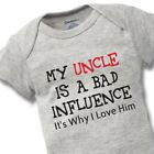 My Uncle Bad Influence Onesies Baby Gift Funny Cute Brother Boy Girl Clothes