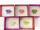 New Children's Jewelry Open Cut Jeweled Girl's BUTTERFLY Adjustable RING