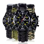 Outdoor Survival Watches Bracelet Compass Flint Paracord Thermometer Whistle