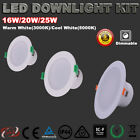 Recessed 16W 20W 25W LED Downlights Kit Dimmable Warm/Cool White 5 Yrs Warranty