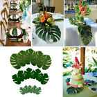 Green Jungle Artificial Monstera Tropical Palm Leaves Hawaiian Party Table Decor