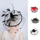 Ladies Fascinators Hat Feather Birdcage Veil headpiece Derby Cocktail Hat