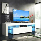 Modern LED Light TV Stand Unit Console Cabinet with Shelves Drawers or Doors