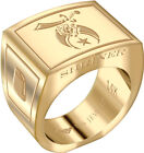 Men's Shriner 14k Yellow or White Gold Freemason Masonic Ring Sizes 8 to 14