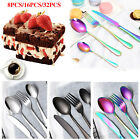 8/16/32pcs Colorful Iridescent Fork Spoon Stainless Cutlery Set for Dining UK