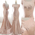 Rose Gold Sequins Bridesmaid Weddding Dress Prom Party Evening Ball Gown 6 8 10