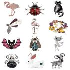 Enamel Crystal Pearl Flamingo Bat Cat Animal Insect Brooch Pin for Women Jewelry