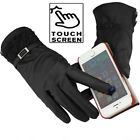 Womens Leather Thermal Touch Screen Driving Gloves Phone/Ipad Black Lace Ladies