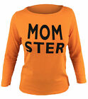 Womens Halloween Tops Long Sleeve Funny T Shirt Tee S-M-L-XL-2XL USA Momster