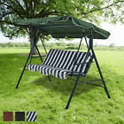 Garden Swing Chair Patio 3 Seater Metal Hammock Swinging Lounger Seat Bench