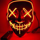Halloween Hot Light Up Mask &quot;Smiling Stitched&quot; El Wire Rave Cosplay Edm Purge <br/> **Sold 300+++AAA+++popular+
