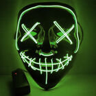 "Halloween Hot Light Up Mask ""Smiling Stitched"" El Wire Rave Cosplay Edm Purge"