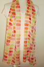 Kathie Lee collection Made Italy scarf Neck Wrap white red lime orange squares