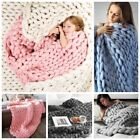 Soft Large Chunky Knitted Thick Blanket Hand Yarn Wool Bulky Throw Sofa Blanket