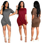 Women Short Sleeves Casual Club Party Solid Color Cocktail Draped Mini Dress