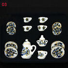 15PCS Plate Cup Dish Porcelain Tea Set Chinese Rose 1/12 Dollhouse Miniature