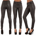 WOMEN HIGH WAIST PLUS SIZE LEATHER LOOK JEANS Skinny FitTrousers SIZE 10-20