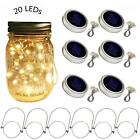 Solar Mason Jar Lid Lights 6 Pack 20 Led String Fairy Star Firefly Jar Lids L...