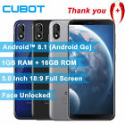 Cubot J3 1gb+16gb Android Go 5in Mobile Phone Unlocked 3g 4core Dual Sim Face Id