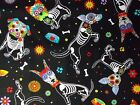 Dog Sugar Skulls Fabric Black Quilting Timeless Treasures 100% Cotton BTHY BTY