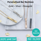 Personalised Engraved Brushed Jewellery Bar Necklace Rose Gold Silver - Vertical