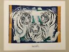 ROLF KNIE,THREE WHITE TIGERS,1993' RARE 1993 ART PRINT WITH COLOR IMPRINTS