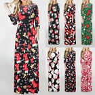 Women Xmas A Line Dress Ladies Christmas Long Sleeve Evening Party Dress Maxi ~