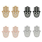 Solid 18k Gold Natural Diamond Pave Hamsa Hand Stud Earrings Fashion Jewelry NEW