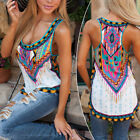 Boho Women's Sleeveless Geometric Printed Vest Tee Shirt Blo