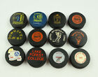 12 Vintage Miscellaneous Hockey Pucks! College, Professional, Junior Leagues!