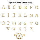 Diamond Gemstone Initial Alphabet Letter A TO Z Shaker Fine Ring 18k Yellow Gold