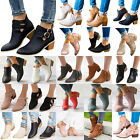 Women's Low Mid Block Heel Ankle Boots Ladies Chunky Booties Chelsea Shoes...