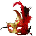 Women Costume Feather Masquerade Mask Halloween Mardi Gras Cosplay Party Red