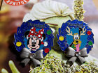 disney pin,2 LE Christmas Wearth happy Holiday blue,Minnie and Pluto
