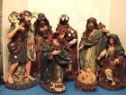 VINTAGE TUSCAN RESIN 15' NATIITY SET JOSEPH MARY BABY IN MANAGER 3 KINGS AND SHE