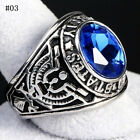 Men Ring 316 Stainless Steel Inlay Siam Gem US Army Ring High Polished RetroRing