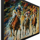 Horse Racing Art Modern Race Track Artwork Colorful Abstract Horses Jockey Decor
