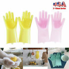 2 in 1 Magic Silicone Rubber Dish Washing Gloves Scrubber Cleaning Sponge
