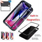 Magnetic Metal Bumper Tempered Glass Clear Case Cover For iPhone XS XR 7 8 Plus
