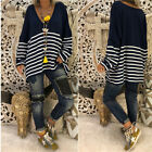 UK Plus Size 8-22 Womens Knitted Striped V Neck Loose Jumper Sweater Tops Blouse