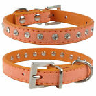 Bling Rhinestone Suede Leather Small Dog Collar Pet Puppy Cat Kitten Collars