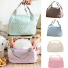 Insulated Cold Canvas Dotted Lunch Bag Picnic Portable Carry